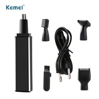 kemei 4 in1 eletrict trimer Rechargeable nose trimmer razor for men women eyebrow beard nose hair removal USB cable
