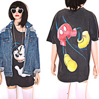 90s Mickey Mouse T Shirt Vintage Faded Black Front and Back Print Oversized