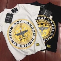 """""""Boy London"""" Personality Bronzing Eagle Letter Pattern Print Casual Unisex Short Sleeve Couple Shirt Top Tee"""
