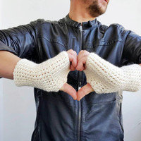 CREAM  FINGERLRSS GLOVES Unisex Mittens Fishing Wool Driving Winter Accessories Crochet Fingerless Gloves Crochet Accessories