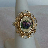 Tapestry Ring Made in Italy Adjustable Vintage Italian Floral Jewelry