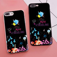 Minason Coque Floral Alice in Wonderland Housings Phone Case for iPhone X 5S XR XS Max SE 6 S 6s 7 8 Plus Cover Silicone Capas