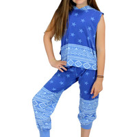 Dirtee Hollywood Dance Royal Blue Aztec Star Pants | Mod Angel