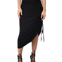 Lyss Loo Tie That Knot Fold Over Black Maxi Skirt