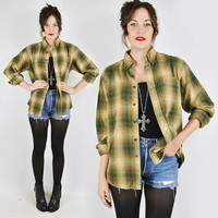 vtg 90s grunge green shadow PLAID print FLANNEL slouchy OVERSIZED button up shirt top S M L