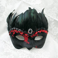 Black Satin Brocade Paper Mache Masquerade Mask with Red Roses and Iridscent Feathers
