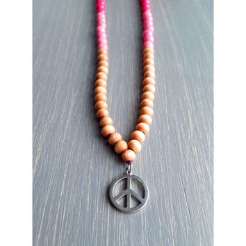 Long Wood Beaded Peace Festival Necklace