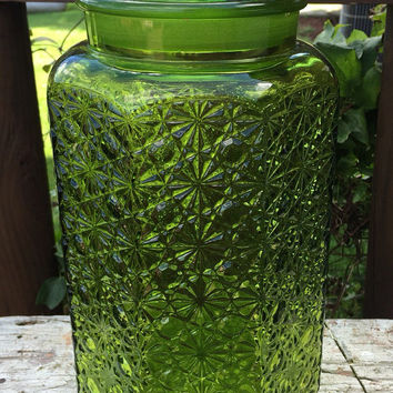 """vintage 12"""" emerald green glass canister with lid, large green glass jar, mid century kitchen storage, textured green glass jar, home decor"""