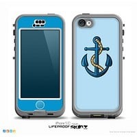 The Dark Blue Anchor with Rope Skin for the iPhone 5c nüüd LifeProof Case