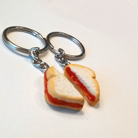 Peanut Butter and Jelly Sandwich Halves Key Chains, Polymer Clay Accessories, Best Friends Gifts