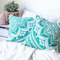 Turquoise Medallion Cushion Cover
