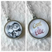 Carl and Ellie Double Sided Petite Necklace - Inspired from Disney Pixar's Up