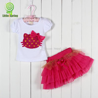 2014 new girls 3D flower cartoon KT clothing sets kids tops + girl tutu skirts 2-pcs outfits bowknot TUTU skirt 6 colors Choose Freely 2-5T.