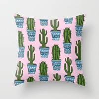 Cactus Pattern (Pink) Throw Pillow by Sarah Oelerich