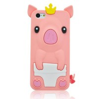 BYG pink 3D Pig Cartoon Animal Silicone Case Cover for Iphone 5c + Gift 1pcs Phone Radiation Protection Sticker