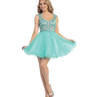 Mint & Nude Lace Sheer Beaded dress 2015 Homecoming Dresses