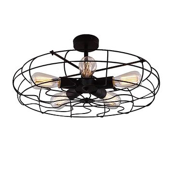 Semi Flush Mount Ceiling Light - BAYCHEER Vintage Pendant lights Industrial Chandelier Black Metal Cage Hanging Fixture with 5 E26 Bulb Base for Hallway,Restaurant,Warehouse,Barn,Living Room,UL Listed Hl371436