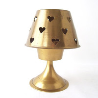 vintage brass hearts cut-outs standing candle holder tea light decorative home decor retro modern romantic romance love cute