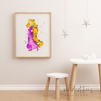 Tangled Rapunzel 3 Watercolor Art Print