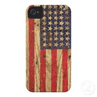 Vintage Patriotic American Flag on Old Wood Grain iPhone 4 Case-Mate Cases from Zazzle.com