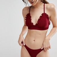 Lost Ink Ruffle Trim Bikini Top at asos.com