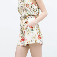 White Floral Print High-Waisted Shorts