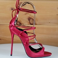 Mista Red Satin Wrap Lace Up High Heel Shoe