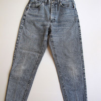 Vintage 90s High Waisted Mom Jeans Tapered Black Blue Stone Washed 9 Denim 26""