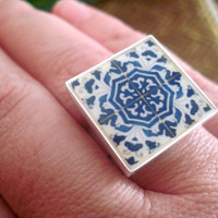 SALE, Portuguese Ring, Iberian Gypsy, adjustable, Spanish influence, cocktail ring, majolica, Portuguese Jewelry, Spanish Jewelry