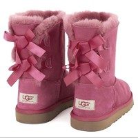 UGG Women Bow Wool Snow Boots Shoes