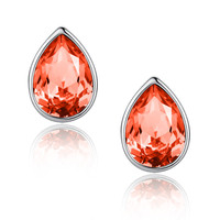 Eternal Love Teardrop Swarovski Elements Crystal Stud Earrings - Orange