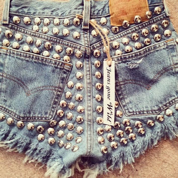 High waist super studded denim frayed shorts size ALL sizes