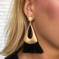 All About The Fringe Earrings in Gold & Black
