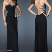 Luxurious elegant black beaded evening dress from Your Closets