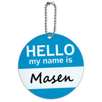 Masen Hello My Name Is Round ID Card Luggage Tag
