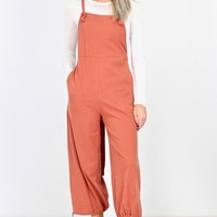 Fall Time Overalls Jumpsuit w/ Tie Back {Brick}