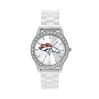 Game Time Watch - Women's Frost Series Denver Broncos Silicone (White)