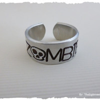 Zombie Hand Stamped Adjustable Ring