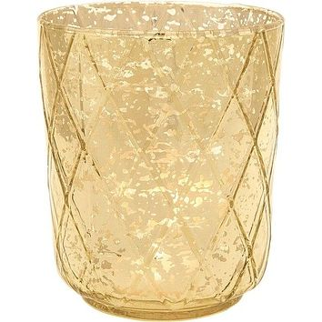 Vintage Mercury Glass Candle Holder (4.75-Inch, Marla Design, Quilt Pattern, Gold) - For Use with Tea Lights - For Home Decor, Parties, and Wedding Decorations