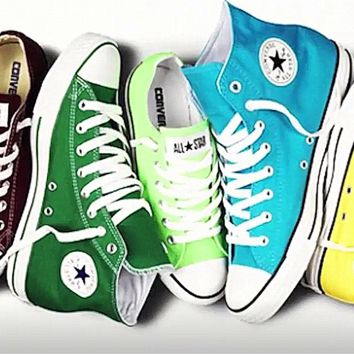 """""""Converse"""" Fashion High tops Wine red Canvas Flats Sneakers Sport Shoes Green Light blue"""