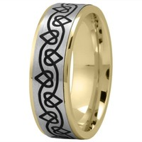 Wedding Band - Celtic Mens Ring with Black Rhodium Hearts in Two Tone Gold