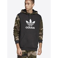 Adidas Autumn And Winter New Fashion Letter Print Camouflage Hooded Long Sleeved Sweater Men