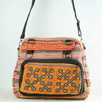 Large Shoulder Bag, Messenger Bag, Hand Briefcase, Sling Bag, Native Tribal Handmade Tote, Zip top Diaper bag