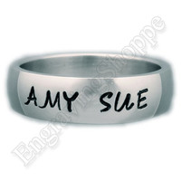 CUSTOM NAME RING Personalized Band Hand Stamped Ring Wedding Band Promise Ring Stainless Steel Ring 6mm  Brushed Silver Ring Anniversary Set
