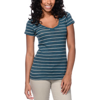 Zine Girls Beta Lyons Blue Stripe Slub V-Neck Tee Shirt at Zumiez : PDP