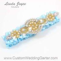 """Alice Blue and Gold Pearl Beaded Wedding Garter """"Charlotte 01"""" Gold"""