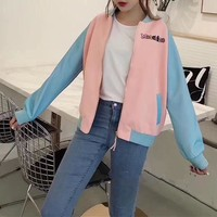"""""""Moschino"""" Women Casual Multicolor Letter Embroidery Cartoon Rainbow Pony Pattern Print Long Sleeve Zip Cardigan Baseball Clothes Coat"""