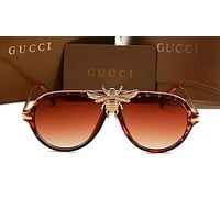 Gucci Personality Fashion Logo Bee All-match Big Mental Frame Frog Mirror Sunglasses Glasses