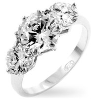 Classic Clear Triplet Anniversary Ring