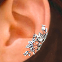 Thistle ear cuff, Flower and Ivy Leaf  Sterling Silver earrings, earcuff clip jewelry, Right or Left